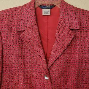 Austin Reed Silk Hot Pink Tweed 10 Blazer Jacket